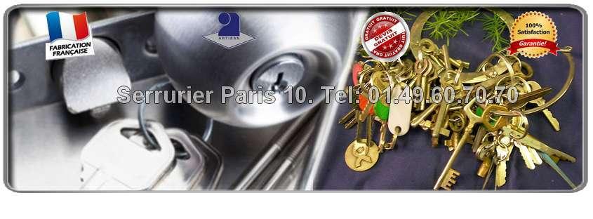 Serrurier Paris 10 vous garantit le déplacement et le devis gratuits dans tout le 10ème arrondissement de Paris pour tous vos problèmes de serrurerie: blindage de porte, fermeture provisoire, changement ou réparation de serrure…  Nous vous dépannons  dans l' heure.