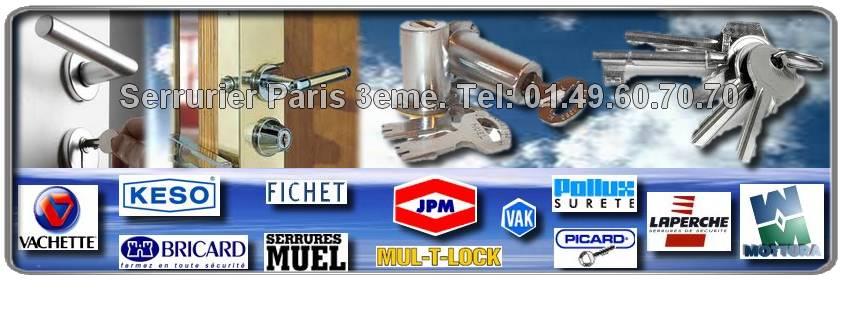 Pour votre depannage, notre serrurier s'occupe de vos réparations de serrurerie: ouverture de porte, fermeture provisoire, changement de serrure. Serrurier Paris 3 vous fournit du matériel agrée haut de gamme: Fichet, Mul-t-lock, Vachette, Dom, Picard, Bricard, JPM, Muel, Reelax, , Mottura, Vak et ce, pour votre propre sécurité et votre confort.