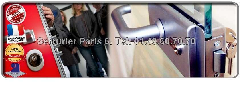 Contactez votre Serrurier Paris 6 pour faire estimer gratuitement le montant de vos travaux en serrurerie. Nos serruriers vous conseillent  sur les différentes marques de serrures selon votre budget et vos besoins. Les artisans Serruriers Paris 6 interviennent dans l'urgence ou bien sur rendez-vous en fonction de vos disponibilités dans le 6ème arrondissement de Paris.