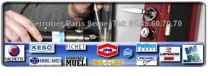 Notre artisan serrurier agrée dans Paris 9 eme  vous conseillera afin de choisir au mieux  la serrure à remplacer.  Il intervient dans les 30mn dans le 75009 et utilise les marques les plus connues pour votre confort et votre sécurité: Reelax, Vachette, Muel, Vak, Fichet, Dom, Picard, Bricard, JPM, Mottura, Mul-t-lock.