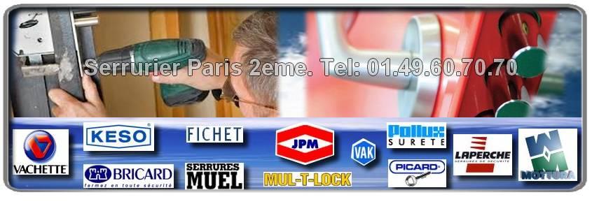 Votre Artisan serrurier Paris 75002 est agrée : Muel, Vak, Picard, Bricard, Mottura, Mul-t-lock, Vachette, Fichet, Reelax, JPM, Dom