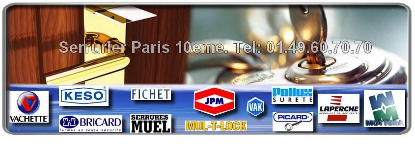 Votre entreprise de serrurerie de proximité sur Paris 10 eme: Agréée Bricard, Mottura, Mul-t-lock, Vachette, Fichet, Reelax, JPM, Dom, Muel, Vak, Picard
