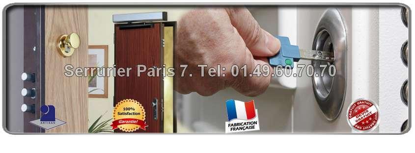 Les Serruriers de Paris 7 sont disponibles  7 jours/7 de 8h à 23 heures (y compris les jours fériés) pour tous travaux sur vos portes et serrures. Les Serruriers Paris 7ème  se déplacent à votre domicile et établissent un devis GRATUIT pour l'estimation des travaux en question. Nous vous assurons un travail de qualité et rapide.