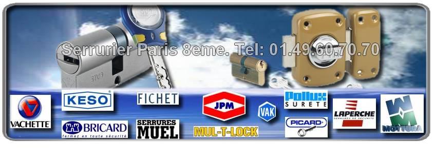 Notre entreprise de Serrurerie du 75008,est Agréée et assure vos dépannages dans paris 8 : Fichet, Reelax, JPM, Dom, Muel, Vak, Picard, Bricard, Mottura, Mul-t-lock, Vachette