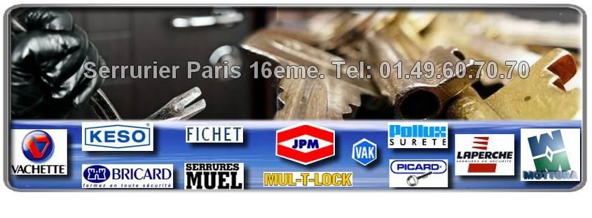 Artisan serrurier Paris 16, Vachette, Dom, Vak, Muel, Reelax. Entreprise de Serrurerie agreee Paris 16