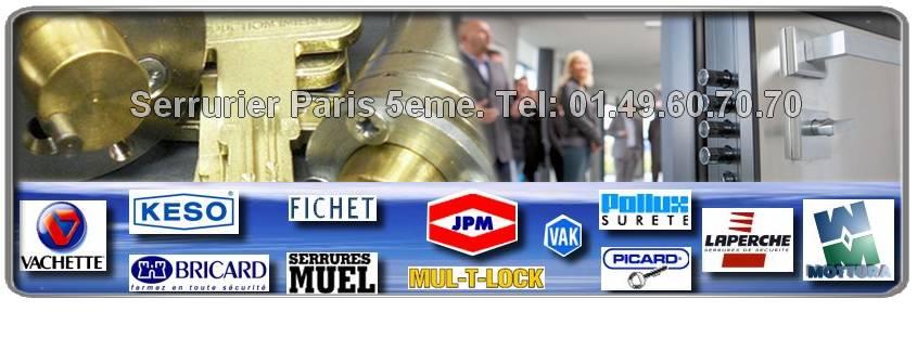 Dépannage serrurier Paris 5eme : Fichet, Mul-t-lock, Vachette, Muel, Reelax, Dom, Vak, Picard, Bricard, JPM, Mottura. Votre serrurier agrée dans le 75005