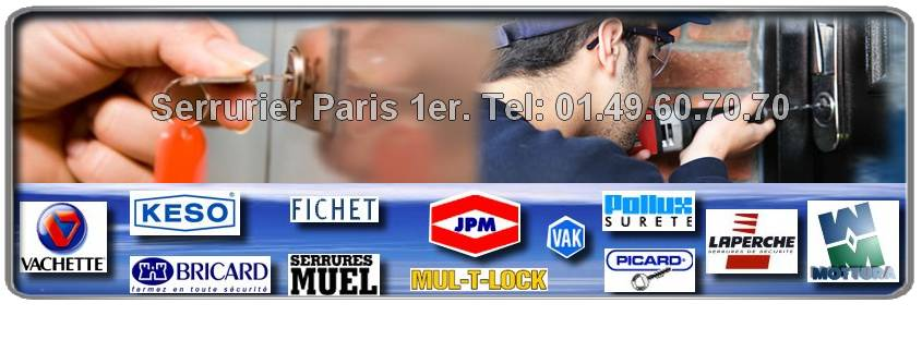 Serrurier Artisan Agrée dans Paris 1 Réparations et installation toute marques dans Paris 1er : Fichet, Reelax, Mul-t-lock, Vachette, Dom, Picard, Bricard, Muel, Vak, JPM, Mottura.