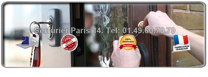 Appelez notre service Serrurerie Paris 14 pour vous établir un devis gratuit estimant le montant de vos éventuels travaux en serrurerie. Les Serruriers du 14ème arrondissement vous dépannent et installent du matériel de qualité et garanti. Ils interviennent dans l'urgence,  moins de 30 minutes suivant votre appel.