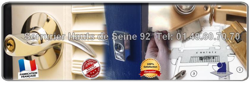 Sos Serrurier 92 pour vos urgences en serrurerie dans l' Hauts de Seine. Notre Entreprise de serrurerie agrée intervient sur vos installation ou réparation de serrure, ouverture de porte dans les 30mn.