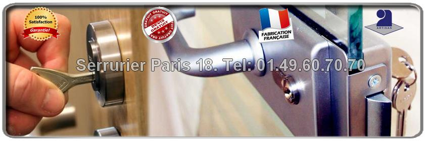 Déplacement et devis gratuits sur tout le 18ème arrondissement de Paris pour tous vos travaux en serrurerie: ouverture de porte, blindage de porte, changement de cylindre…Intervention  rapide en moins d'une heure.