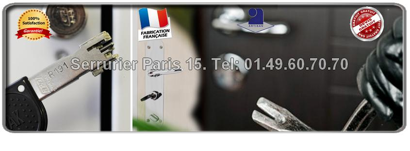 Disponibilité permanente des Serruriers Paris 15  tous les jours de la semaine de 8 heures à minuit pour tous vos travaux de serrurerie. Nos techniciens de Paris 15 se déplacent jusqu'à votre domicile et vous établissent  un devis gratuit.
