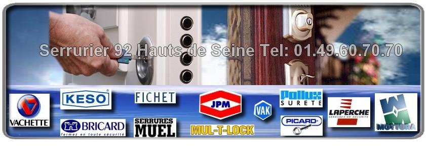 Le service serrurier des Hauts de Seine 92 vous dépanne pour vos urgences:ouvertures de portes claquées, fermées à clés, tentative d'effraction, remplacement de serrures Muel, Pollux, Bricard, Vachette, Heracles dans le département 92