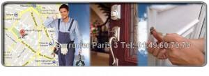 Urgence Serrurier Paris 3 intervient sur tous vos problèmes liés de serrurerie: fermeture provisoire, dépannage et réparations de serrure, clé coincée dans la serrure, ouverture de porte , remplacement de serrure, blindage de portes etc. artisan Serrurier Paris 3 vous propose d'intervenir dans l'heure suivant votre appel et ce, également le dimanche. Nos artisans serruriers sont proches de chez vous dans tous les quartiers du 3ème arrondissement de Paris: Place des Vosges, Place de la République, Boulevard Beaumarchais, rue de Turenne, rue Beaubourg, etc.